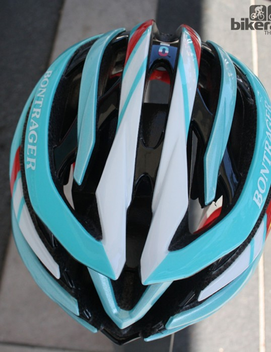The helmet's first appearance was in RadioShack Leopard Trek's Tour de France colours