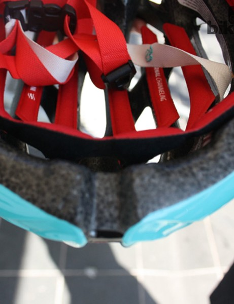 The helmet is well padded inside and can take a detachable peak for when the rain falls