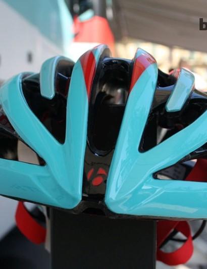 The new Bontrager helmet being worn by RadioShack Leopard Trek