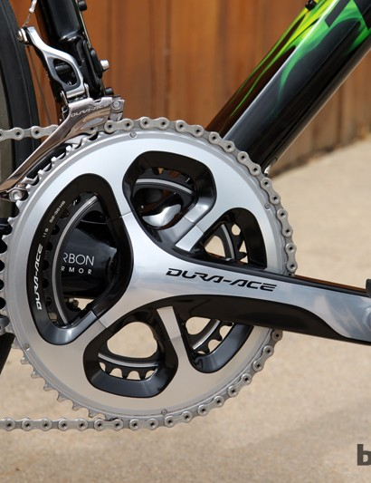 Shimano's latest Dura-Ace 9000 crankset accepts 53/39T, 52/36T, or 50/34T chainring combinations - all on the same spider