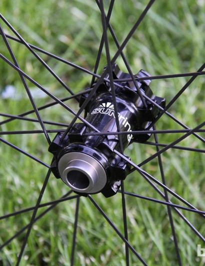 The front hub is convertible between 9mm quick-release and 15mm and 20mm thru-axles