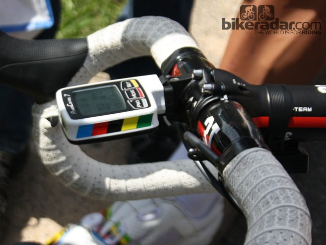 SRM have a reputation for customising the casings for the SRM PowerControl 7. This one belongs to Philippe Gilbert (BMC), and features his world champion rainbow stripes