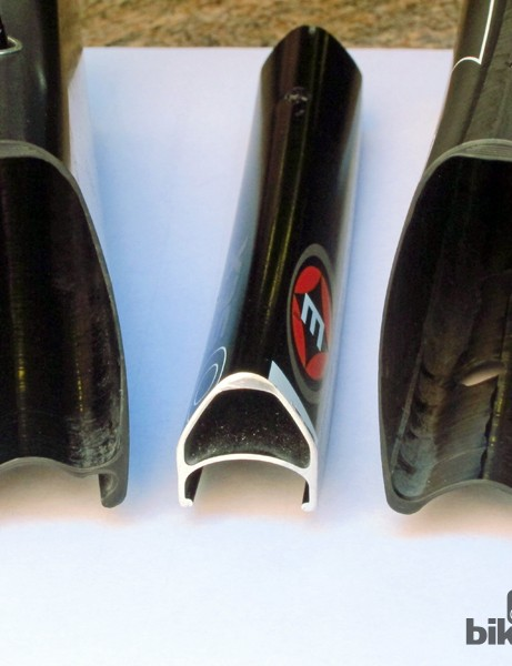 Easton's old 15mm wide (internal) EC90 SLX rim profile (center) looks awfully narrow compared to the new carbon wheels