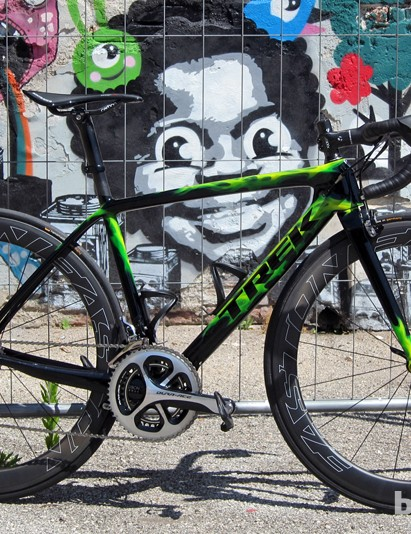 We rode both the new Easton EC90 Aero 55 tubular (pictured here) and the new EC90 SLX tubeless aluminum clinchers on a brand-new Trek Madone 7-Series in the mountains near Bassano del Grappa, Italy, and walked away quite impressed (not to mention tired)