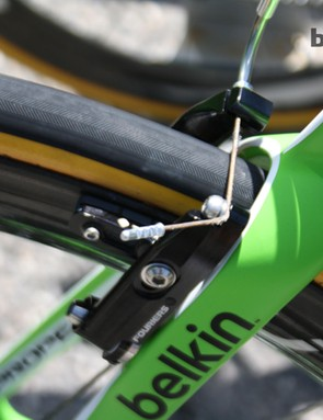 A neat Belkin mechanic has pinched the brake cables back here