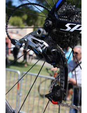 Also on stage 6, Saxo-Tinkoff Bank's spare bikes featured SRAM Wi-FLi extended rear derailleur arms – preparation for the mountains ahead?
