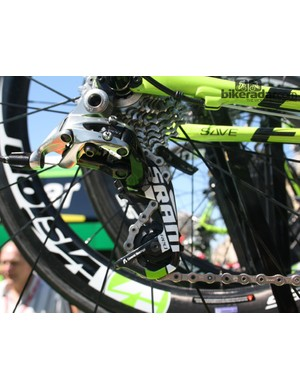 And on today's stage 7, another SRAM-sponsored team, Cannondale, used standard derailleurs on their spares
