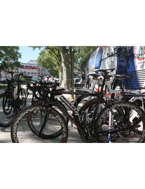 The bikes of Lotto-Belisol's Adam Hansen (front) and Marcel Sieberg displaying some serious drop