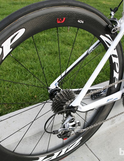 Like most pros, Antonneau uses a variety of wheels. Built up with these Zipp 404 tubulars, the bike weighs 6.8kg (15lb)