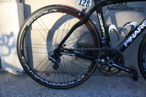 The Colombian is riding new Campagnolo Bora Ultra 35 wheels