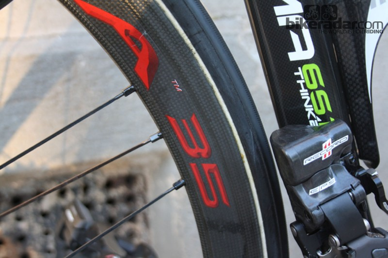 The Bora 35s use a triplicate 24-spoke lacing system on the back wheel, and 18 spokes up front