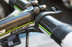 The 125mm FSA stem is a carbon-wrapped alloy OS 99 model