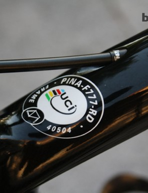 The all-important UCI compliance sticker on the frame