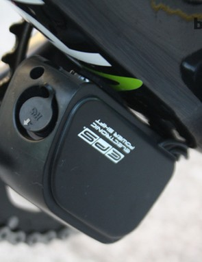 The Record EPS battery is mounted on the down tube and is due an update in the next couple of months