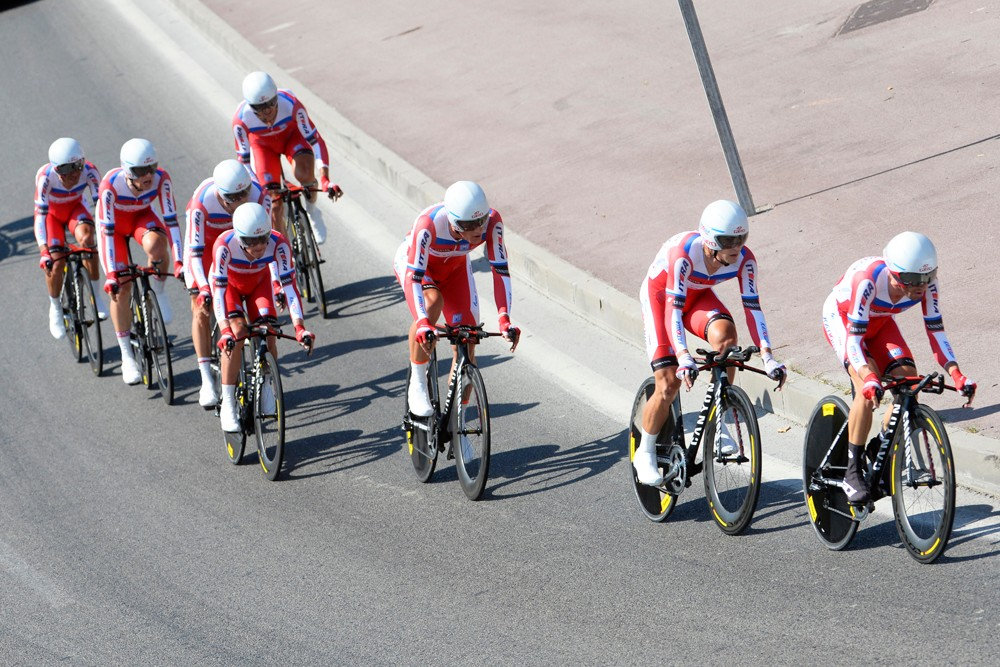 The Katusha team time triallists in action during the 2013 Tour de France