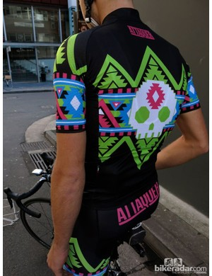 The back of the Electro Aztec jersey features the Attaquer brand name
