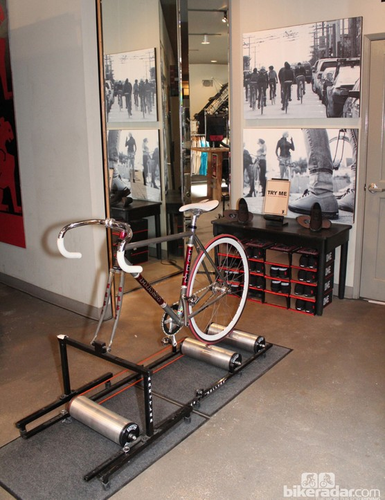 To check out the Chrome Flexplate shoes with SPD cleats, you can ride a fixie in the store