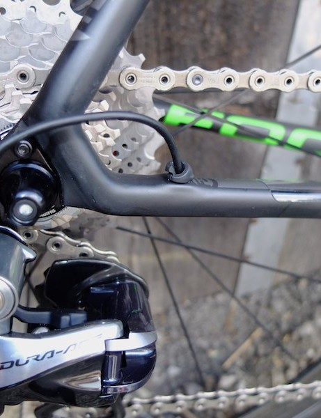 A cable exit at the rear mech, and slimmer chainstays
