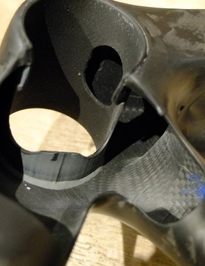 Cutaway section of the Izalco Max bottom bracket area showing the BB shell and internal finish