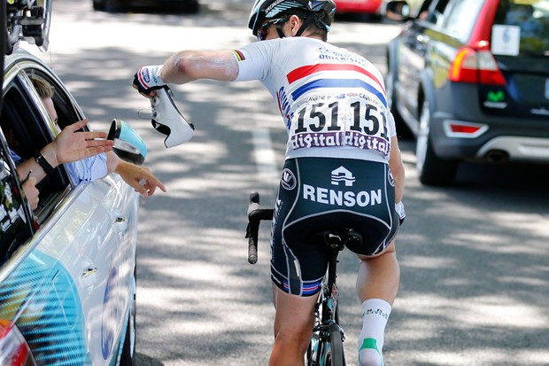 Mark Cavendish (Omega Pharma-QuickStep) was doused with urine during the time trial stage 11 of the Tour de France
