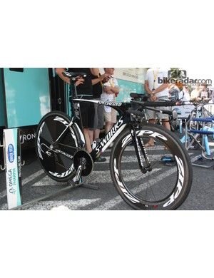 Tony Martin's (Omega Pharma-QuickStep) Specialized Shiv is a thoroughbred race winner – and it carried him to his second Tour de France TT win near Mont-Saint-Michel on stage 11