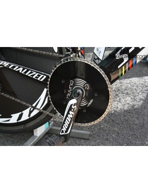 Martin pushed a massive 58T chainring on the flat Brittany course