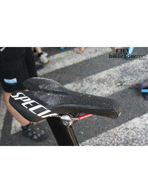 A customised Specialized saddle gives Martin the grip he needs to keep putting the power down