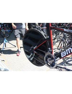 Cadel Evans (BMC) was using this unbranded monocoque disc. A Shimano rep told us it was an unbranded Pro Disc they gave some riders for the 2012 Olympics