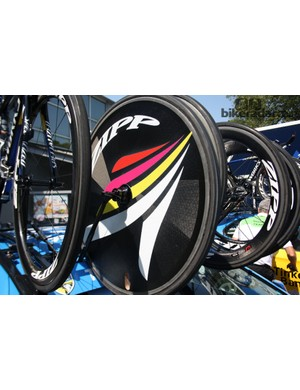 A specially decaled Zipp disc. The pink, yellow and red mean it's grand tour specialist Alberto Contador's