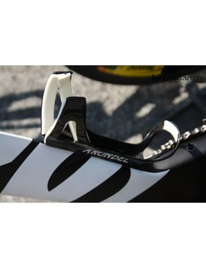 The Arundel Chrono bottle cages on Garmin-Sharp's bikes get a little extra gripper help with self-adhesive foam padding