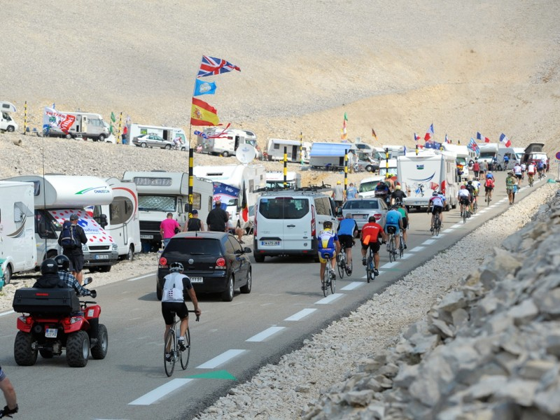 Traffic ascends the mountain ahead of tomorrow's Stage 15 of Le Tour De France at the summit of Mont Ventoux in the Alps