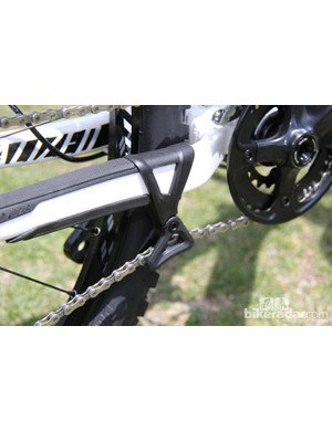 The Camber EVO uses a chainstay-mounted guide to guard against derailing