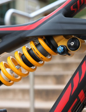 The coil shock has a narrower range of high-speed compression adjustment to make it more user friendly