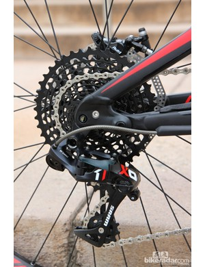 The new SRAM X01 group is easy to identify by the black cassette