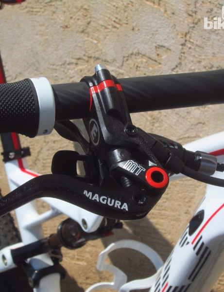 The Magura MT8 brakes on the Specialized S-Works Epic World Cup are very lightweight but they can't match some of the competition in terms of stopping power