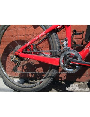 The marathon-oriented Specialized S-Works Epic uses a Shimano XTR 2x10 drivetrain