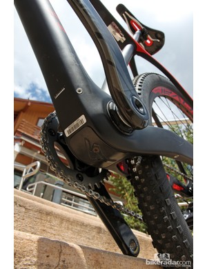 A removable cover makes for easier servicing of the new Stumpjumper carbon hardtail's internal routing