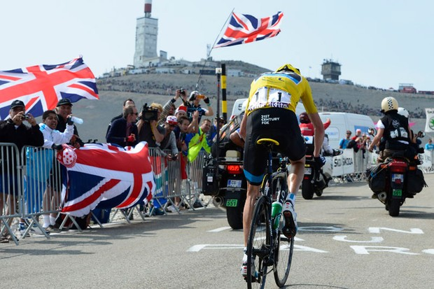 Britain's Chris Froome of Team Sky on route to winning stage 15 of the Tour de France atop Mont Ventoux