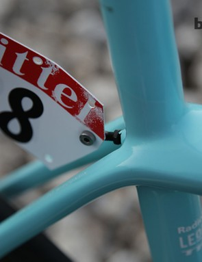 A special detail of the RadioShack Leopard bikes is the elegant integrated number holder. This was attached before the frame was painted