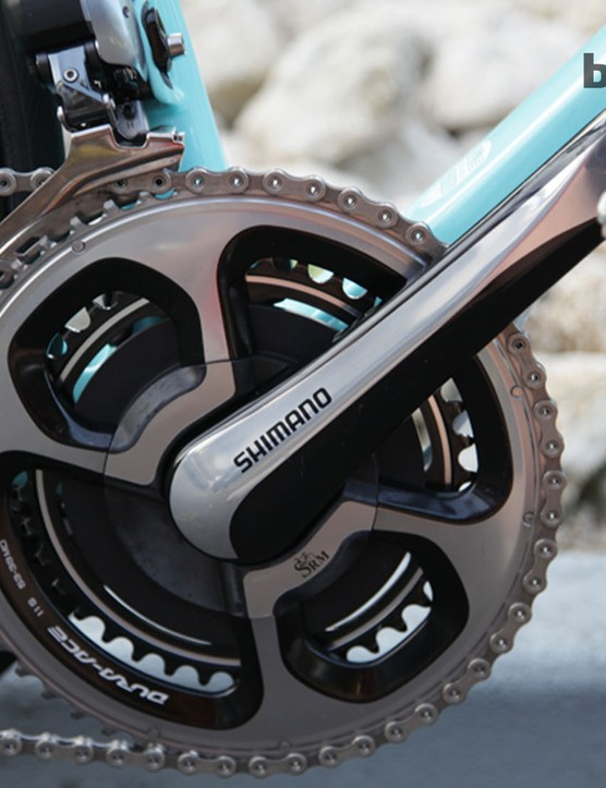 RadioShack Leopard Trek, as an SRM- and Shimano-sponsored squad, were using the new SRM 11-speed cranks that emerged at the 2013 Tour