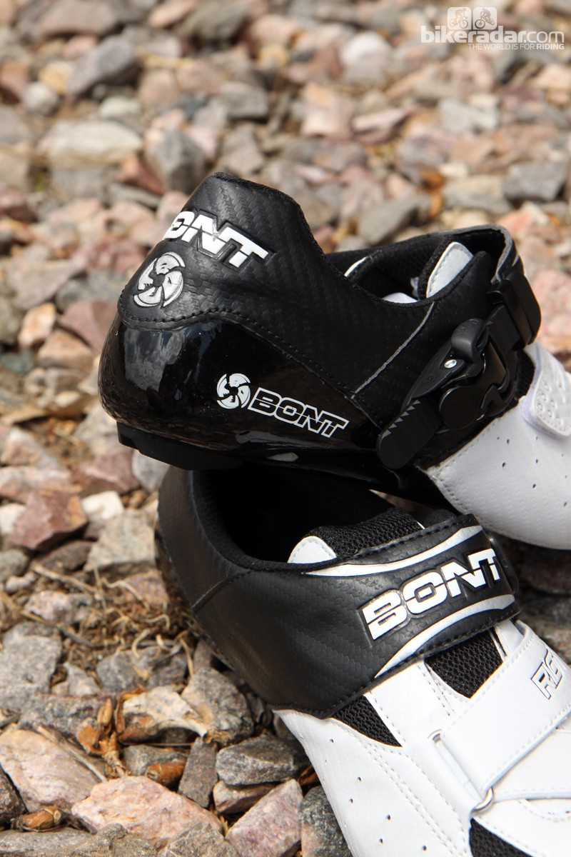 The carbon sole wraps up and around the heel for extra support