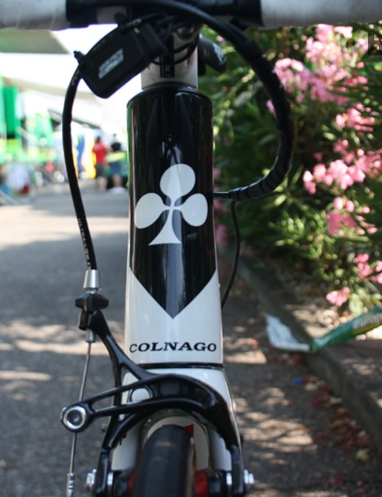 The ace of clubs: the unmistakable mark of Colnago. There's extra space in the forks for a broader rim and tyre combination