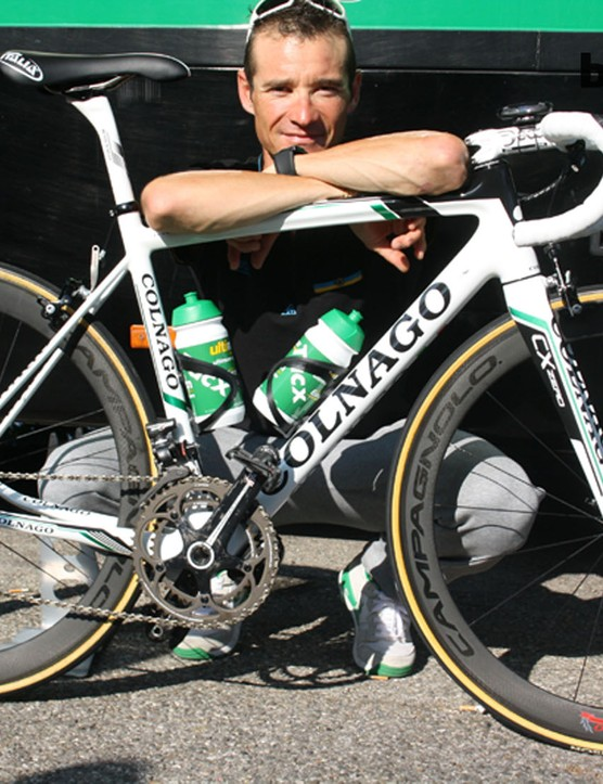 Thomas Voeckler (Europcar) came out to pose with the new frame, which he'll start riding after the Tour