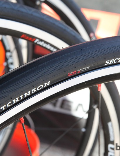 Hutchinson's new Sector 28 (the name has changed since this image was taken) delivers a true 28mm-wide casing in a tubeless-ready format