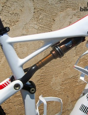 The new Brain-equipped Fox rear shock on the revamped Specialized Epic is positively tiny