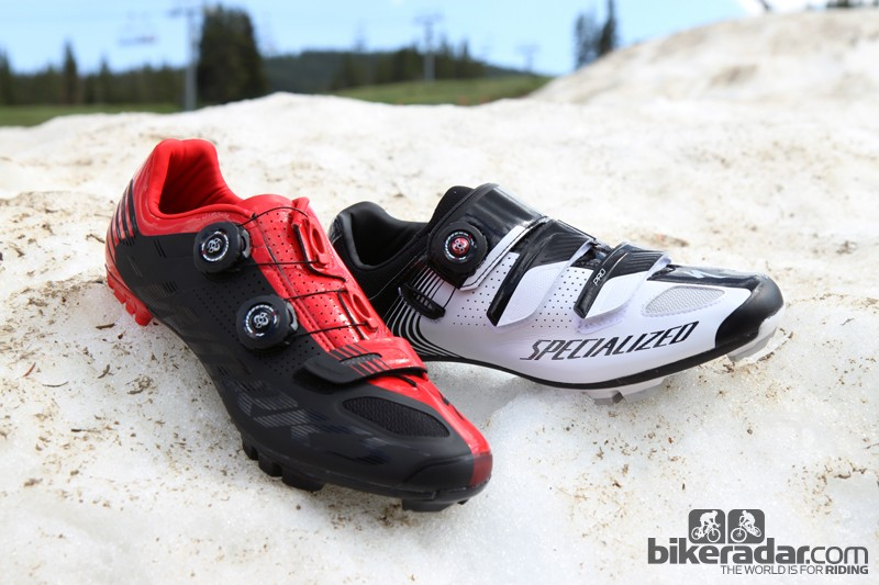 The new Specialized S-Works MTB shoes (left) and Pro MTB shoes (right) both feature stiff and lightweight carbon fiber sole plates plus replaceable Boa reels