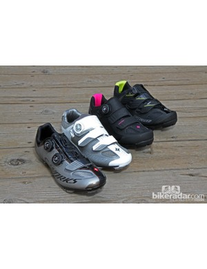 Specialized is in no way taking a half-baked approach to women's-specific mountain bike shoes with four distinct options, all with dedicated lasts. From left to right: the S-Works XC the Cascade XC, the Motodiva, and the Riata