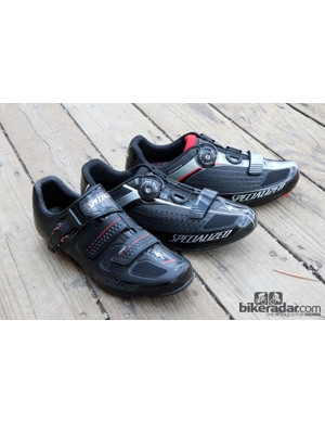 From left to right: Specialized's updated Pro, Expert, and Comp road shoes