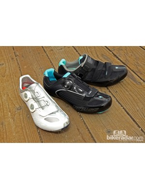 From left to right: Specialized's new women's-specific S-Works, Ember, and Torch road shoes for 2014