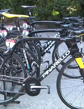 Chris Froome's number one bike parked outside